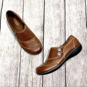 Clarks | Brown Leather Slip On Shoes